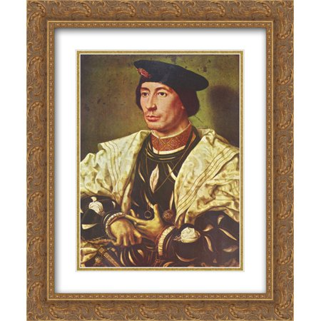 Mabuse 2x Matted 20x24 Gold Ornate Framed Art Print 'Portrait of Baudoin of Burgundy' Burgundy Gold Art Print