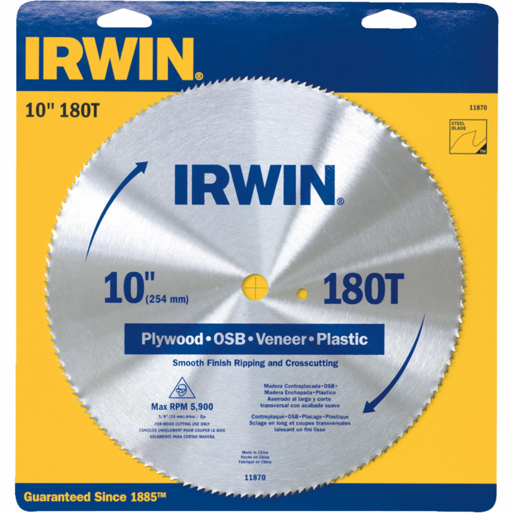 "Irwin 11870 10"" 180T Steel Circular Saw Blades Wood Cutting"
