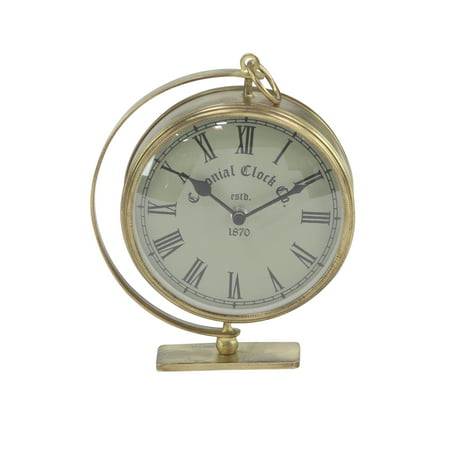Decmode Rustic 6 X 7 Inch Gold Iron Round Analog Table Clock ()