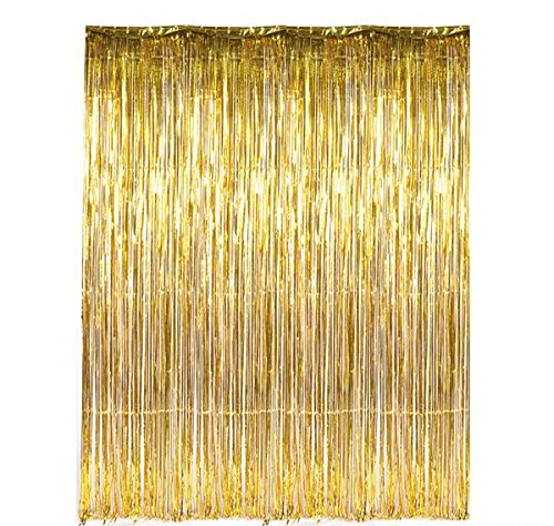 GiftExpress Foil Fringe Curtain (2, Gold)
