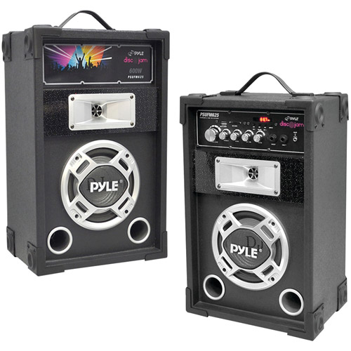 Pyle Pro Psufm625 Dual 600-Watt Disco Jam Powered 2-Way PA Speaker System with Auxiliary Jack