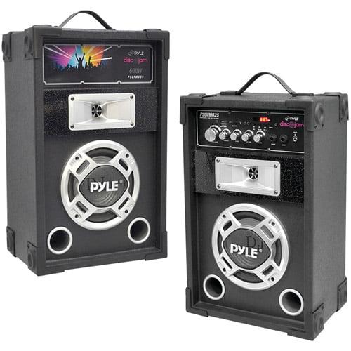 Pyle Pro Psufm625 Dual 600-Watt Disco Jam Powered 2-Way PA Speaker System with Auxiliary Jack