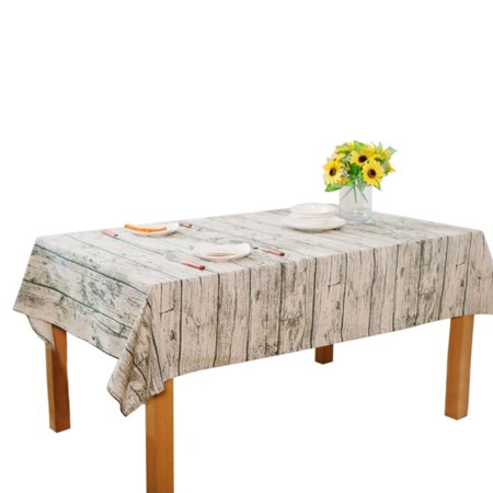 Retro Wood Grain Style Tablecloth Rectangle Cotton Linen Tablecloth Decorative For Dinner Parties Wedding Table Cover