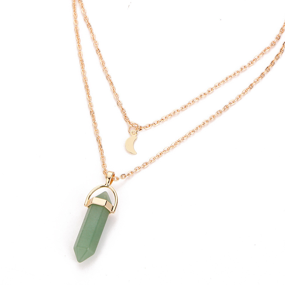 Women Multilayer Irregular Crystal Opals Pendant Necklace Choker Chain