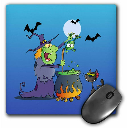 3dRose Funny Crazy Witch Preparing a Potion With a Frog In a Cauldron Silly Halloween Holiday Cartoon, Mouse Pad, 8 by 8 inches - Funny Witch Halloween Cartoons