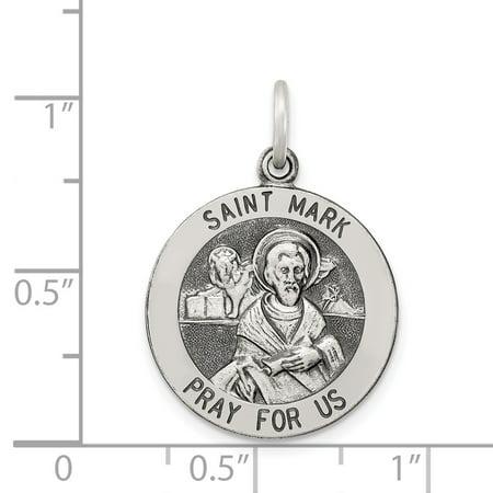 Sterling Silver Antiqued Saint Mark Medal QC5738 (25mm x 20mm) - image 3 of 3