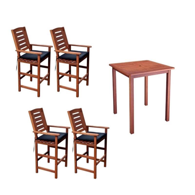 5 Piece Patio Pub Set with Set of 4 Bar Stools and Pub Table in Cinnamon Brown by
