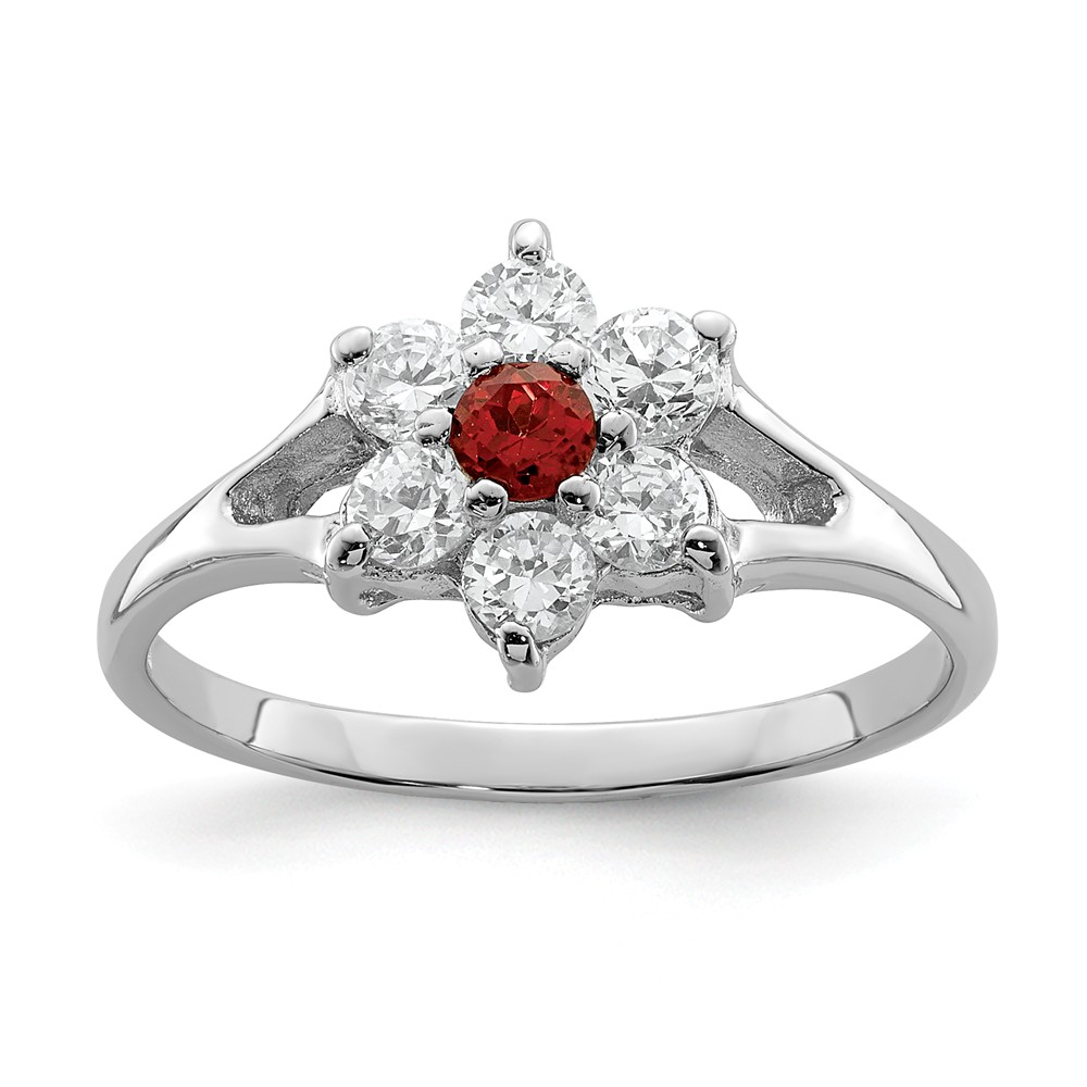 925 Sterling Silver Simulated Garnet and Cubic Zirconia Ring Size-6