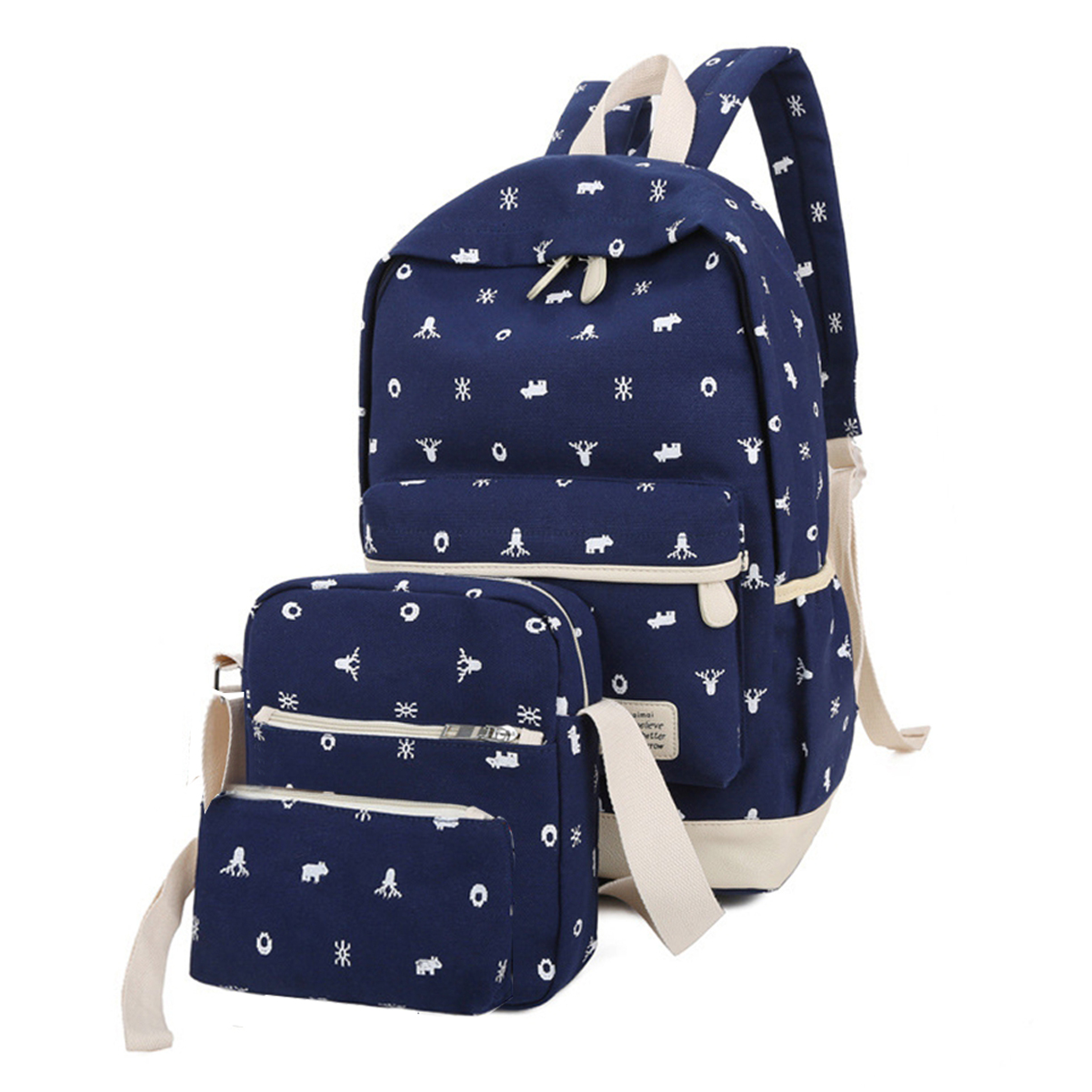 Casual Lightweight Canvas Wallet/Shoulder Bag/School Backpack Printed Bags Set