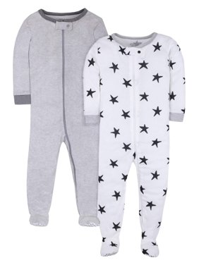 Little Star Organic Baby & Toddler Girl or Boy, Unisex Pure Organic True Brights Footed Stretchie Pajamas, 2-Piece Set