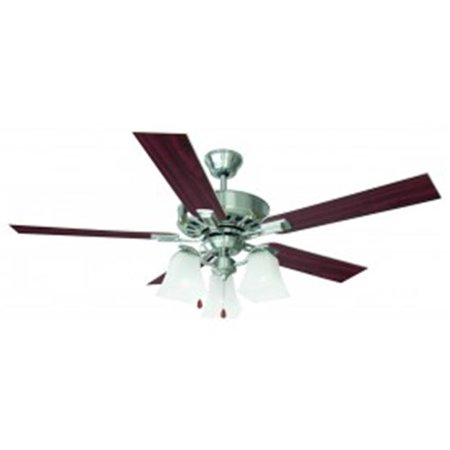 Torino 52 in. 3-Light 5-Blade Ceiling Fan, Redwood or Light Maple Blades, Satin Nickel Finish - Maple 5 Blade