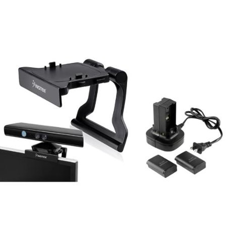 Insten Dual Battery Charger Station Dock + Mount Stand Holder For Xbox 360 Kinect Senor ()