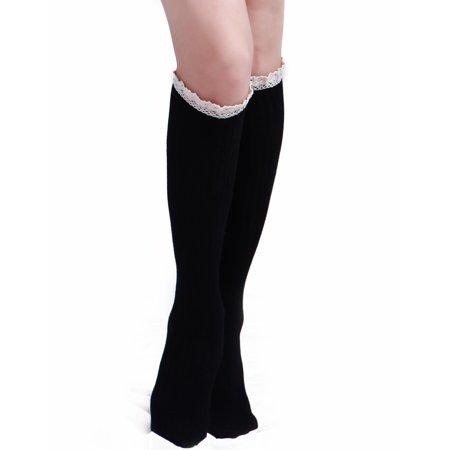 HDE Women's Knee High Socks with Crochet Lace Trim Cotton Knit Boot Stockings - Crochet Boot Socks
