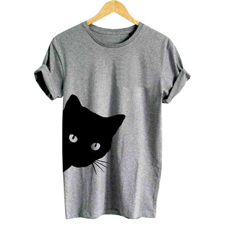 Fancyleo Cat Looking Outside Print Women Tshirt Cotton Casual Funny T Shirt for Lady Girl