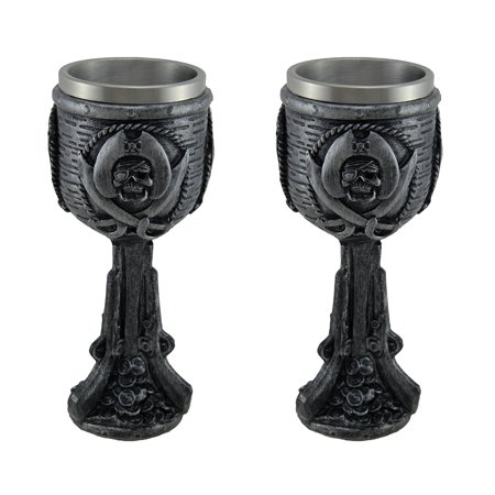 Pewter Water Goblet (Dark Pewter Finish Pirate Skull Set of 2 Drinking Goblets )