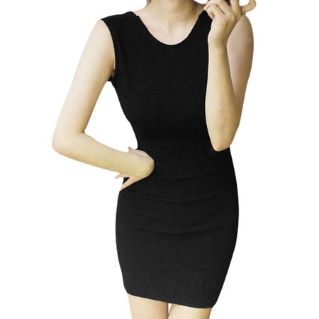 Unique Bargains Sexy Sleeveless Cut Out Waist Stretchy Slim Dress for Ladies