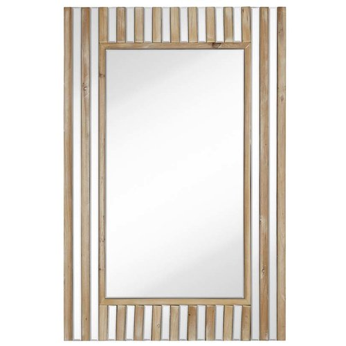 Majestic Mirror Rectangular Mirror With Natural Wood Stripes Beveled Glass Hanging Wall Mirror by Majestic Mirror