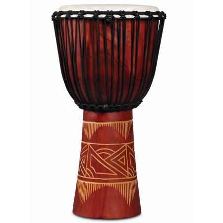 Red Djembe - latin percussion lp713lr world beat wood art large djembe, red with natural