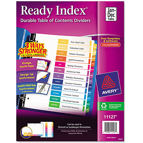 Avery Ready Index Table of Contents Dividers 11127, 12-Tab Set
