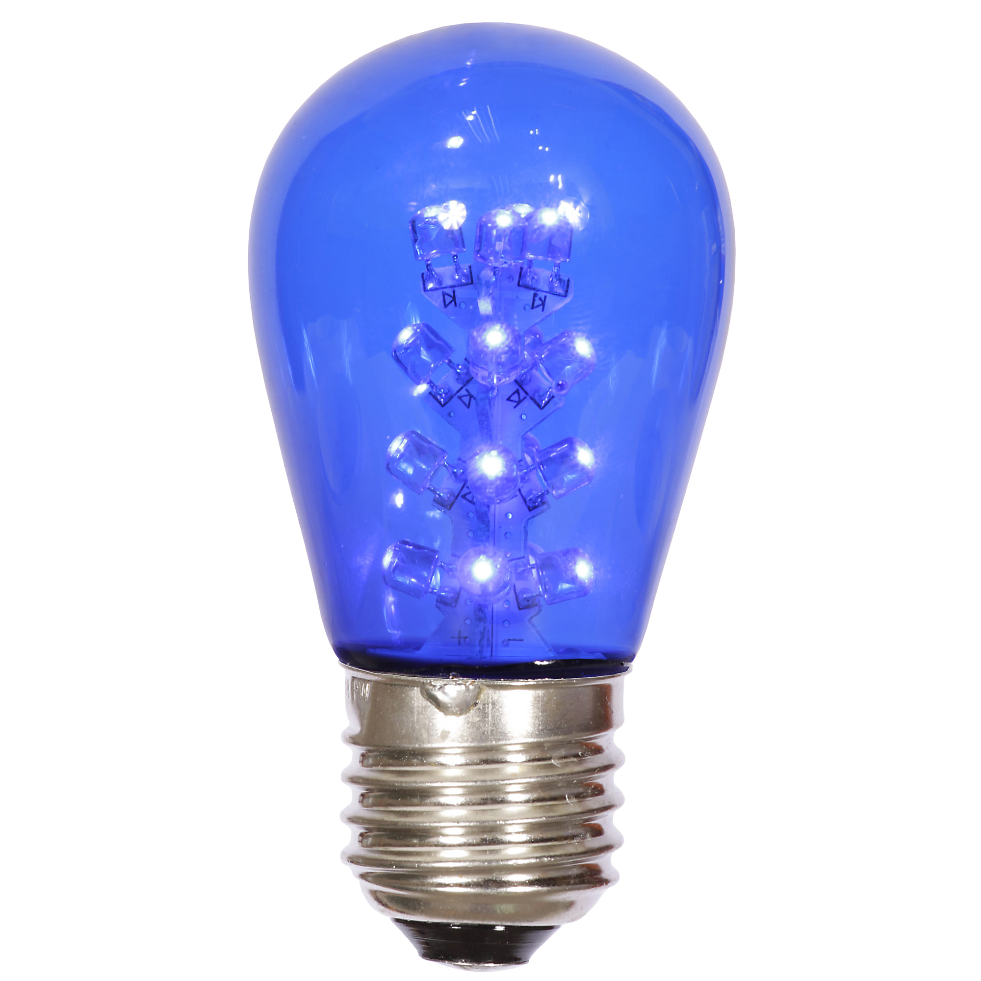 Vickerman S14 LED Blue Transparent Bulb E26 Nickel Base