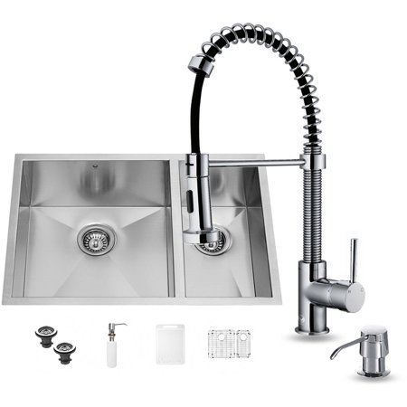 """VIGO All-In One 29"""" Endicott Stainless Steel Double Bowl Undermount Kitchen Sink Set With Edison Faucet In Chrome, Two Grids, Two Strainers And Soap Dispenser"""
