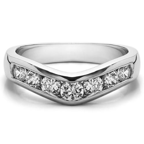 Twobirch  Sterling Silver Traditional Style Contour Wedding Band mounted with Cubic Zirconia (0.75 Cts. twt)