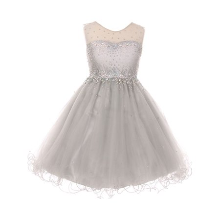 Girls Silver Sparkling Rhinestone Illusion Tulle Party Formal Dress - Girls Silver Dresses