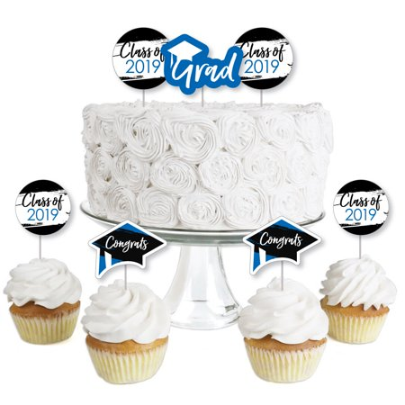 Blue Grad - Best is Yet to Come - Dessert Cupcake Toppers - Royal Blue 2019 Graduation Party Clear Treat Picks - 24 Ct - Best Halloween Cakes And Cupcakes