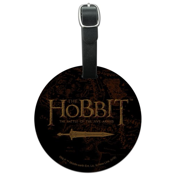 The Hobbit Battle of the Five Armies Logo Round Leather Luggage Card Suitcase Carry-On ID Tag