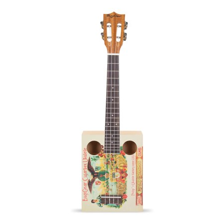 BugsGear 19 Frets Tenor Rosewood Spruce Top Water Decal Print Vintage Cigarbox Ukulele with Case / Royal