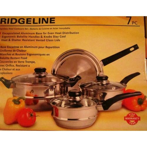 Sunbeam Ridgeline 7 Piece Stainless Steel Cookware Set - 4 Quart Dutch Oven, 2 Quart Saucepan, 1.5 Quart Saucepan, Frying Pan, Lid - Stainless Steel, Bakelite Handle, Glass Lid - Cooking, (79599-07)