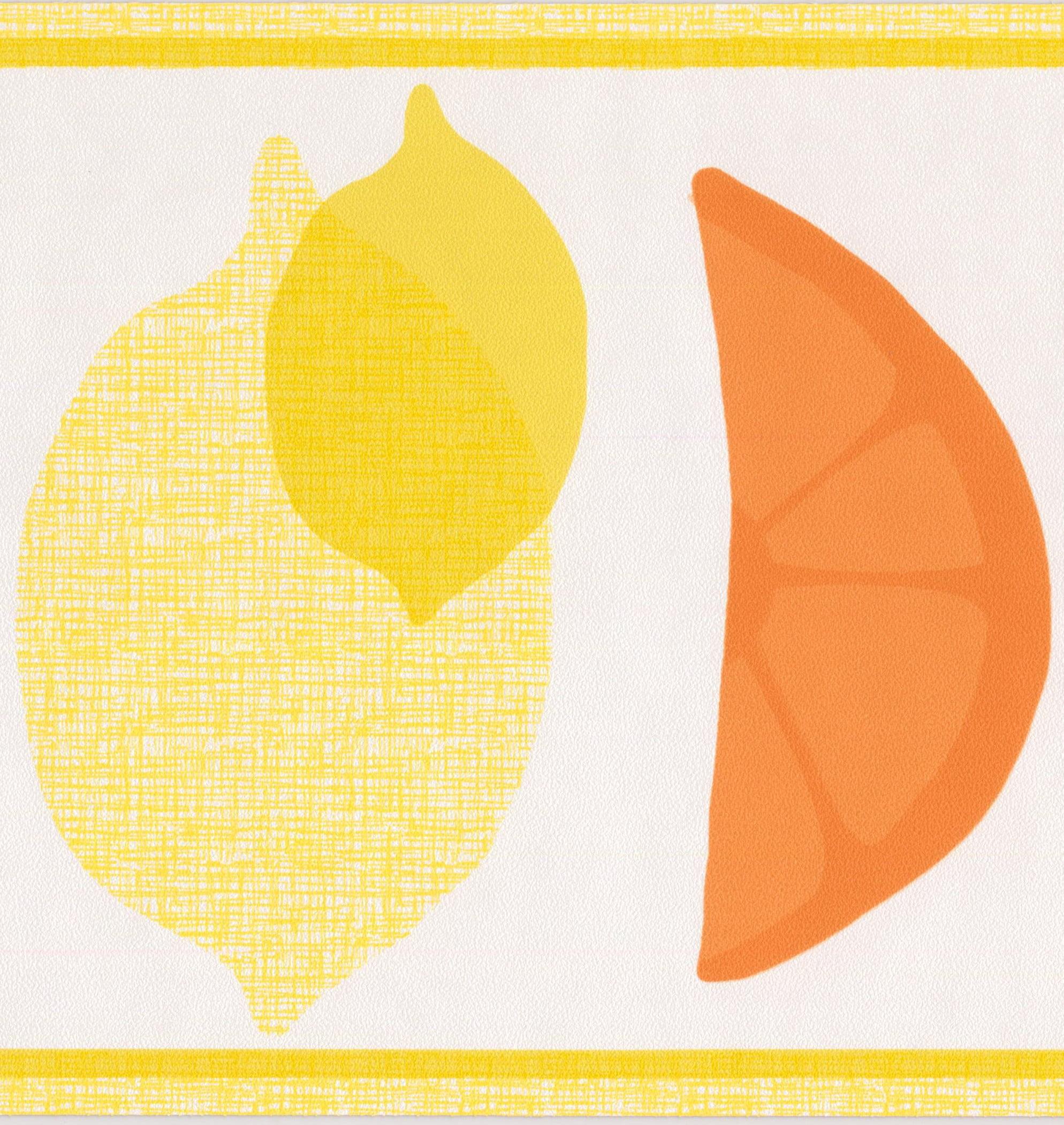 Kids Drawn Fruits Apple Lemon Orange Colors Wallpaper Border Kitchen  Bathroom Design, Roll 15u0027 X 7u0027u0027