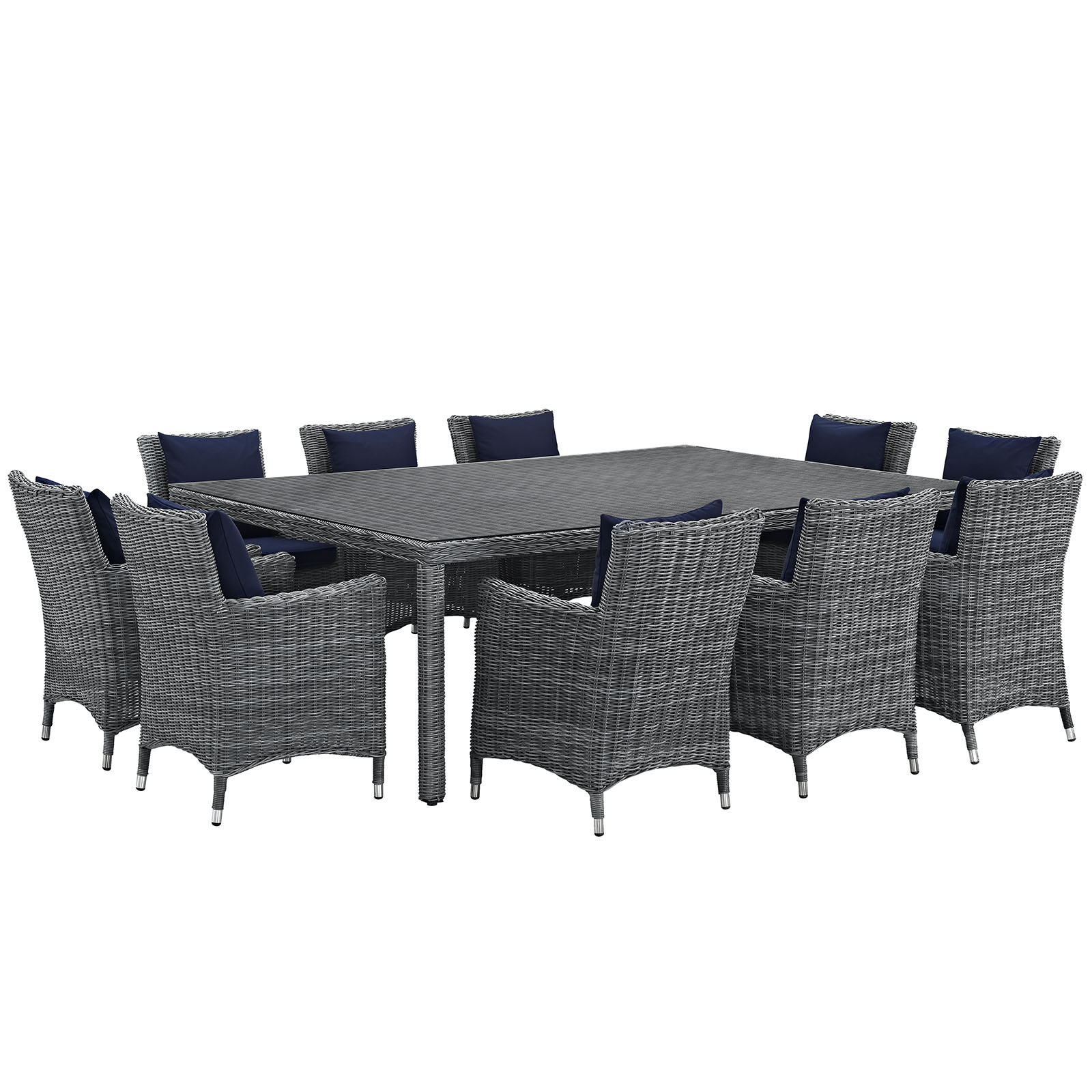 Modern Contemporary Urban Design Outdoor Patio Balcony Eleven PCS Dining Chairs and Table Set, Navy Blue, Rattan
