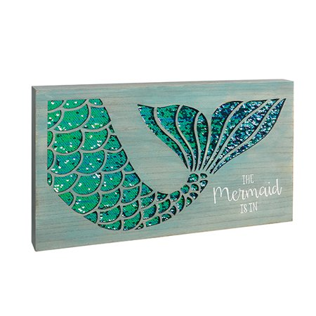 """Grasslands Road Beautiful Wooden And Sequin Sign - """"The Mermaid is in"""""""