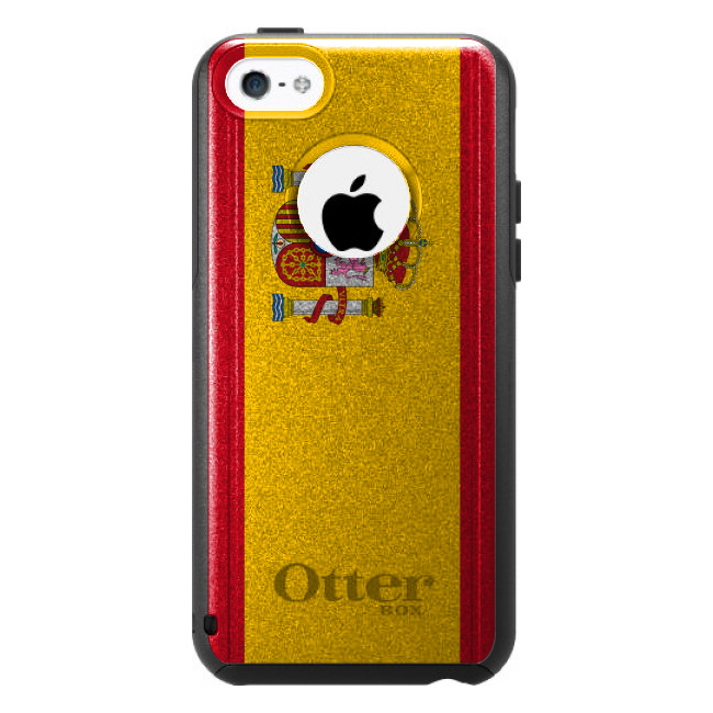 DistinctInk Custom Black OtterBox Commuter Series Case for Apple iPhone 5C Spain...