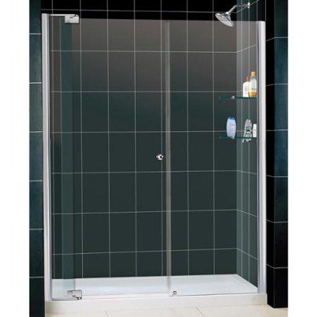 DreamLine Allure Frameless Pivot Shower Door and SlimLine 34 x 60-inch Single Threshold Shower Base Chrome Finish Hardware; Right Hand Drain Base
