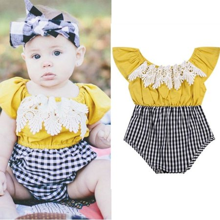 Princess Baby Kids Girls Grid Plaids Checks Lace Splicing Jumpsuit Playsuit Fly Sleeve Tassel Outfits Romper - Check Romper