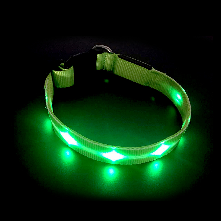 COOLPET LED Dog Collar USB Rechargeable Waterproof Flashing Light for Glowing Pet Improved Outdoor Visibility & Night Safety
