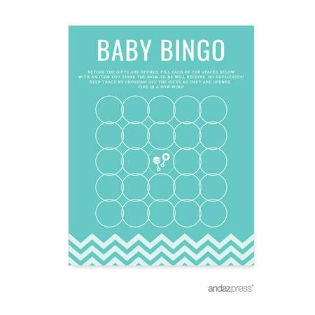 Baby Bingo Diamond Blue Chevron Baby Shower Games, - Baby Blue Baby
