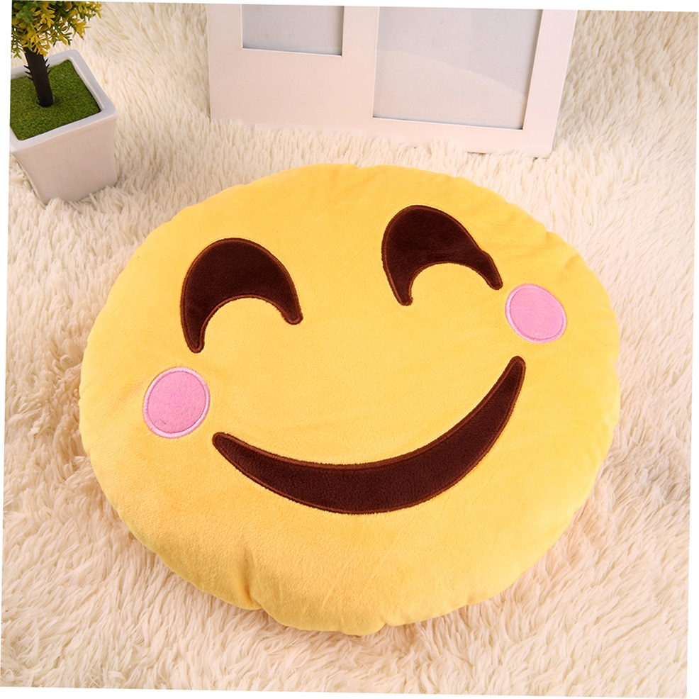 Updated Soft Cute Emoticon Pretty Yellow Round Cushion Pillow Stuffed Plush Toy