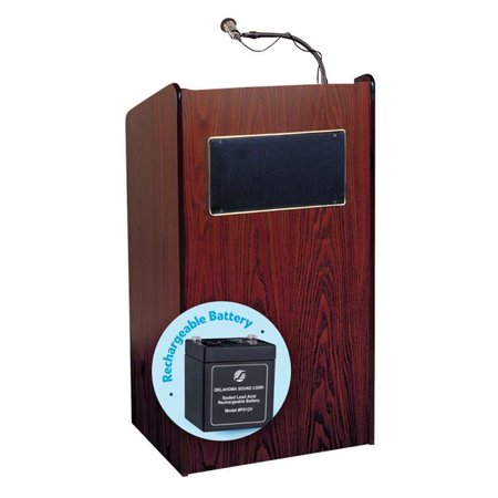 Oklahoma Sound M6010-MY 50W Aristocrat Floor Sound Lectern & Rechargeable Battery, Mahogany