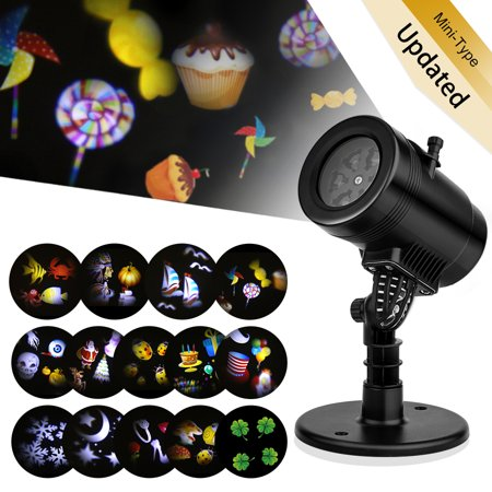 Snowflake Rotating Projector Lights,New 14 Pattern LED Moving Projector Landscape Stage Light Waterproof Indoor Outdoor Decoration for Halloween Thanksgiving Christmas Carnival New Year Birthday](Halloween Carnivals In Houston)