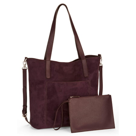 Time and Tru Leigh North South Reversible Tote with Pouch