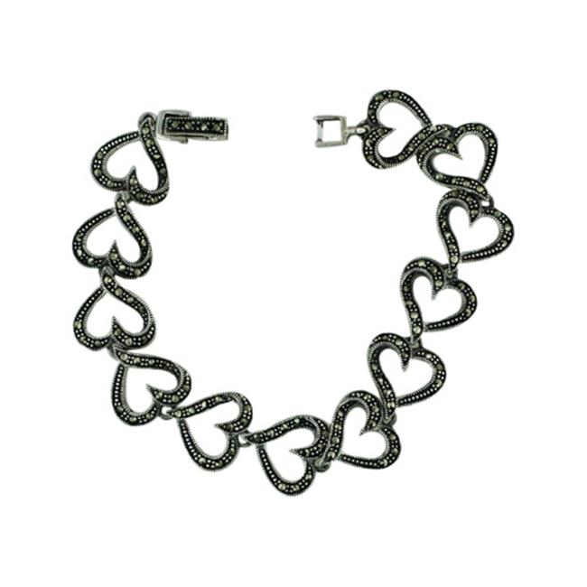 Vera and Co 3M-658Z Sterling Marcasite Open Heart Ling Bracelet with Fold Over Clasp