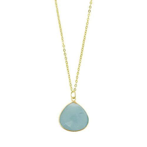 Chayenne Jewelry Medium Teardrop Aqua Chalcedony Pendant Necklace by Generic