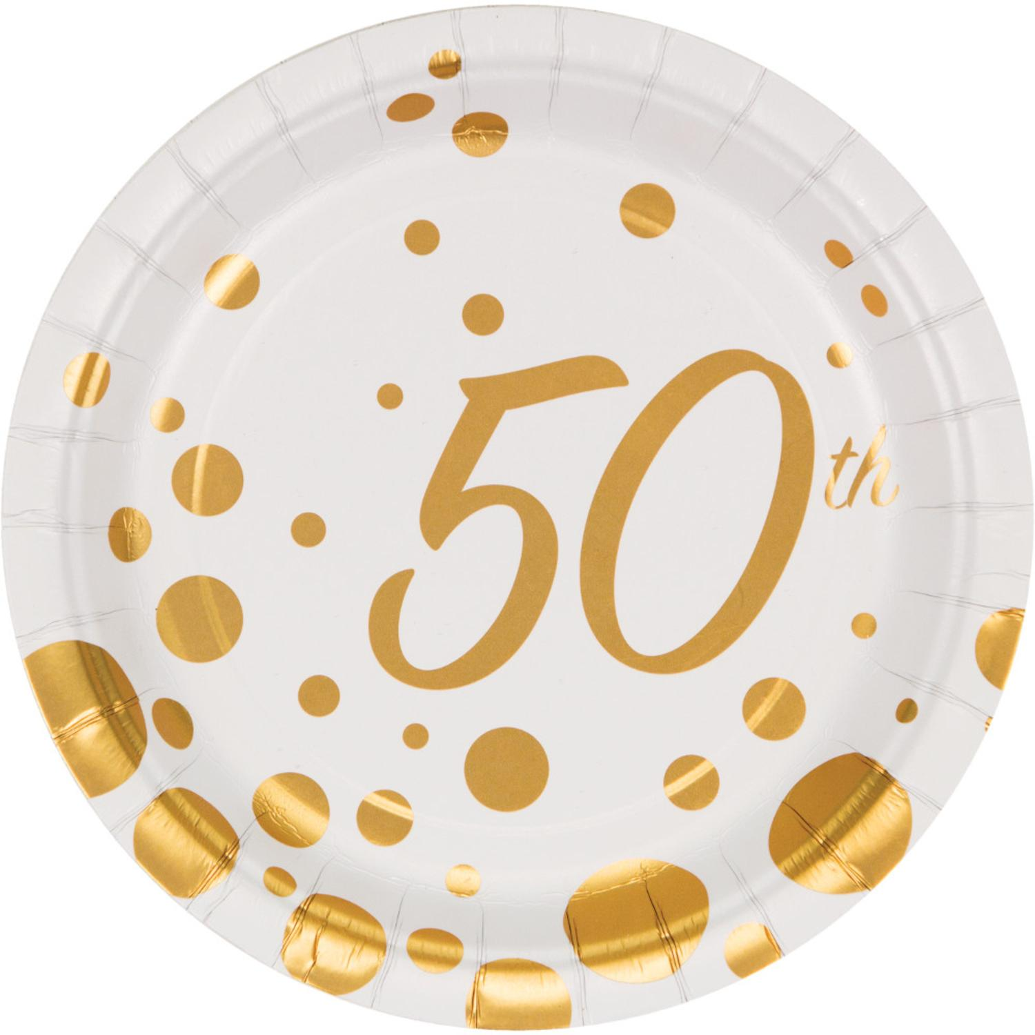 "Club Pack of 96 Sparkle and Shine Gold ""50th"" Anniversary Disposable Foil Party Lunch Plates 7"""