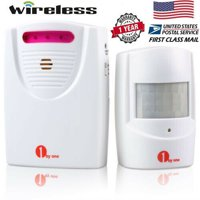 1byone Wireless Home Security Driveway Alarm System, 1 Battery-operated Receiver and 1 PIR Motion Sensor Detector Weatherproof Patrol Infrared Alert System Kit