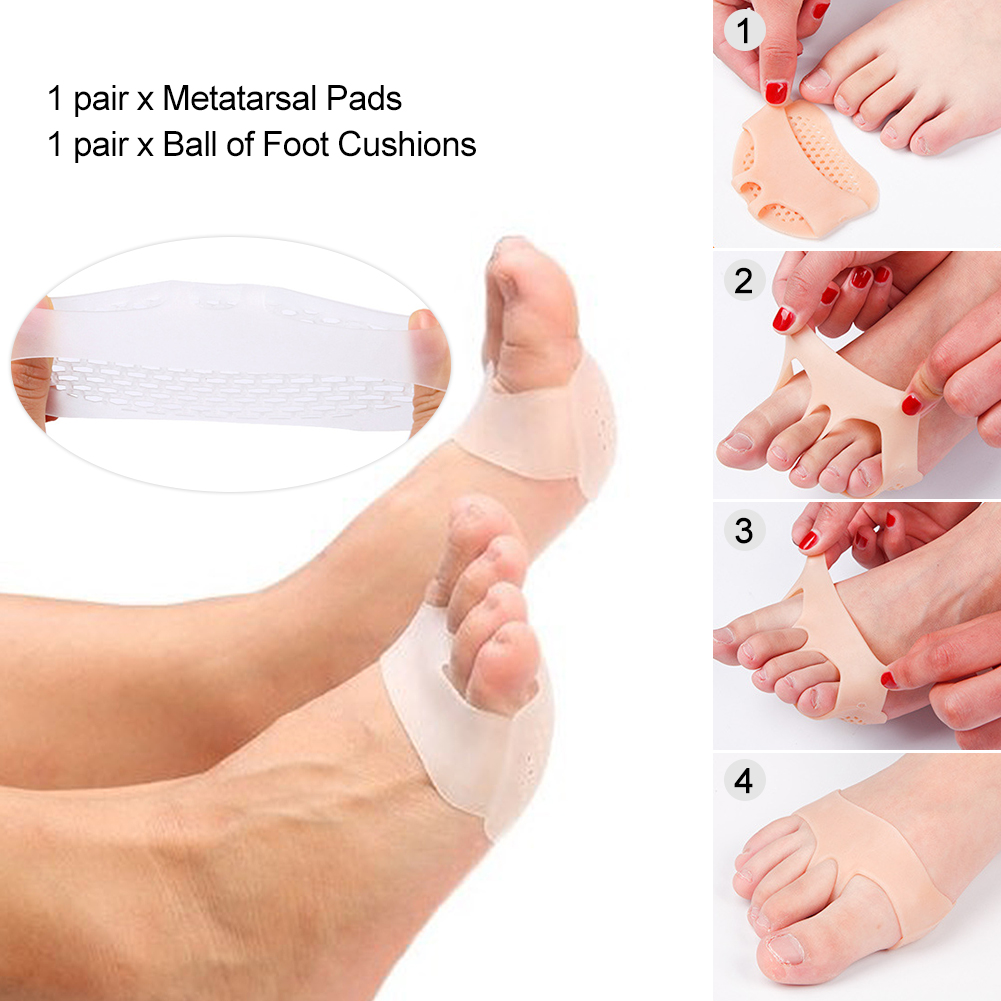 Soft Gel Reusable Breathable Long Lasting Foot Care Pad Bunion Forefoot Cushioning Mortons Neuroma Blisters Callus Pain Relief/ Men Women Metatarsal Pads Ball of Foot Cushions