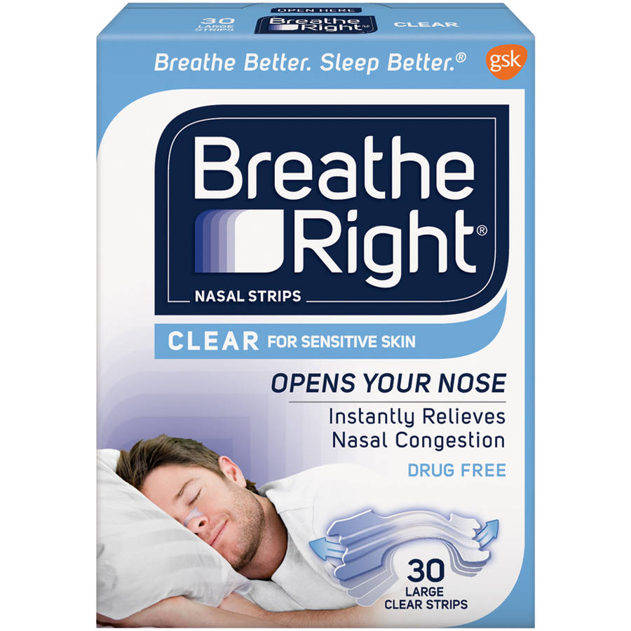 Breathe Right Nasal Strips, Clear Color for Sensitive Skin, Drug Free, Large Size, 30 Strips