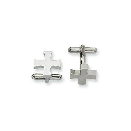 Religious Cross Cufflinks (Stainless Steel Cross Religious Cufflinks Man Cuff Link Gift For Dad Mens For Him)